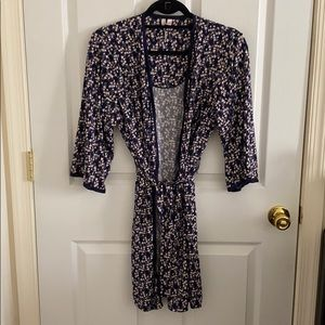 BODY TOUCH NAVY FLORAL PRINT DAY ROBE